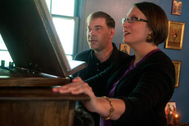 Jack Cutrer and Julie Dreher, singing at Divine Liturgy