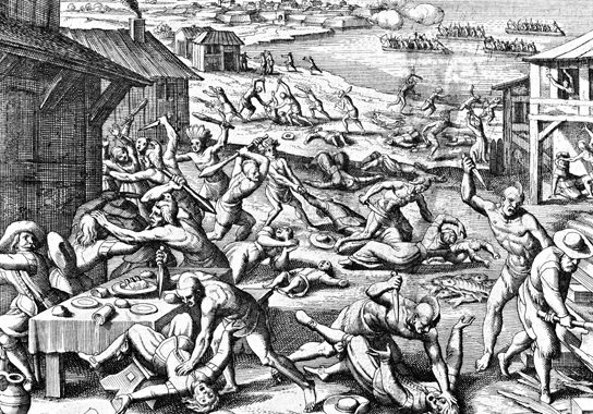 The 1622 massacre of Virginia settlers depicted in a 1628 engraving by Matthaeus Merian.