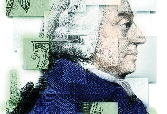 Adam Smith, updated. Illustration by Michal Hogue.