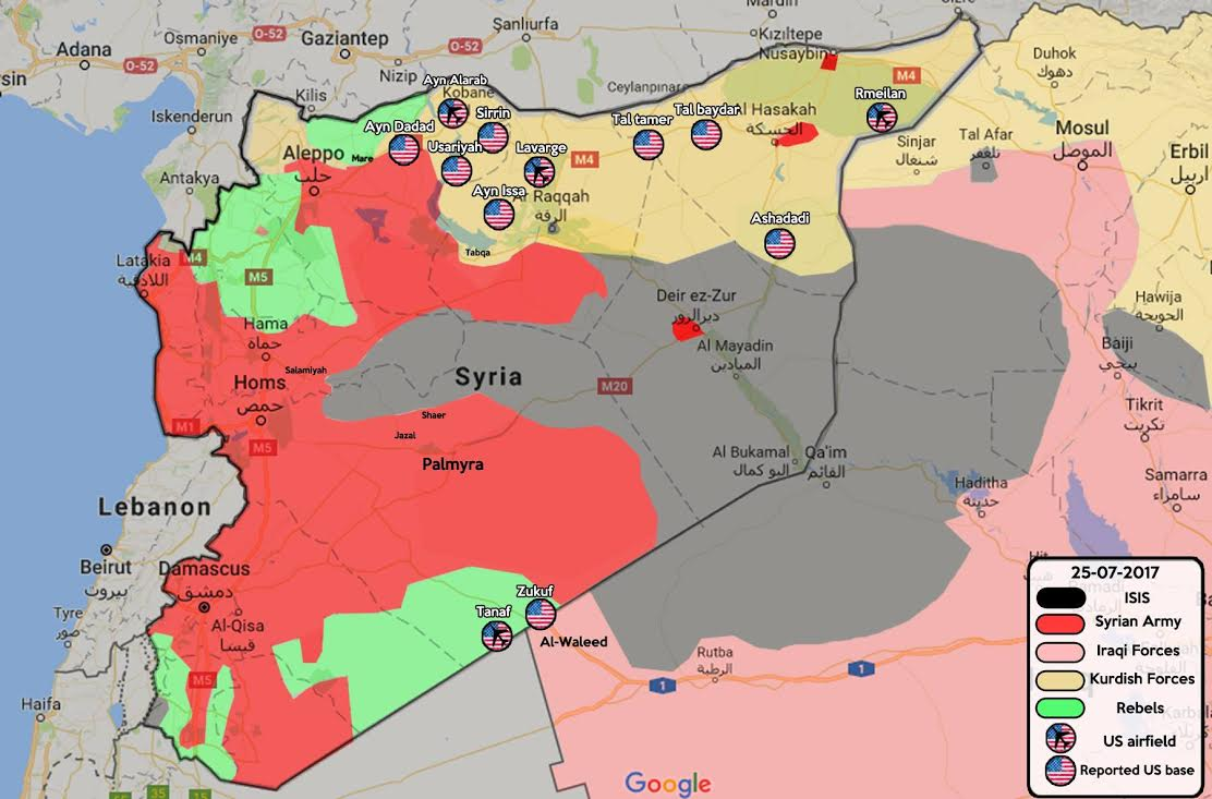 u s military bases and outposts in syria identified by media and independent sources as of july 26 commissioned by the author from m fahd and z adra